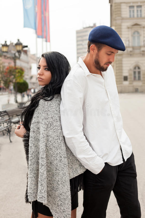Young fashion couple on the street stock photos