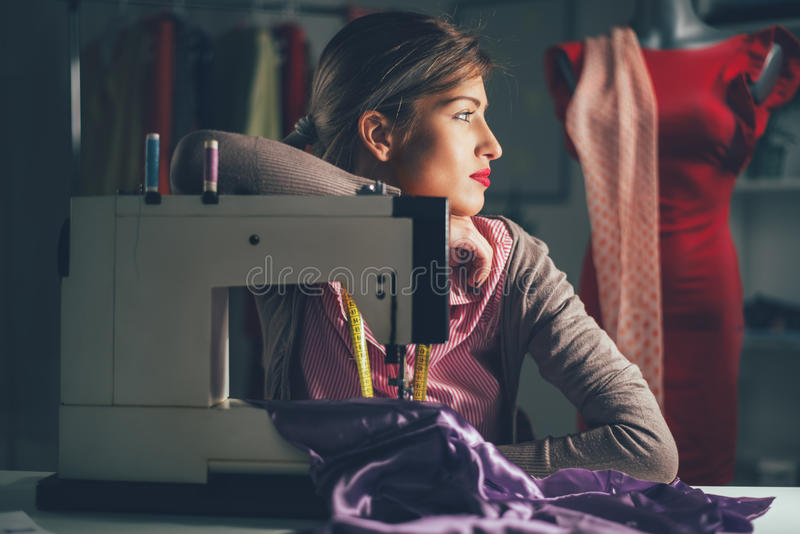Young Fashion Designer Thinking stock image