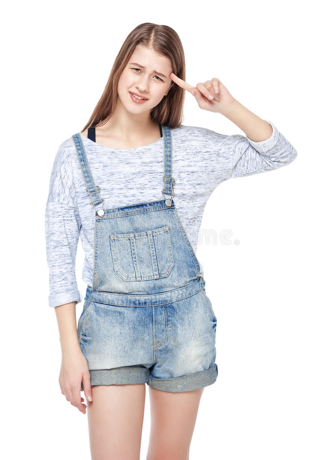 Download Young Fashion Girl In Jeans Overalls Making Crazy Gesture Isolat Stock Photo - Image of fashion, culture: 49701292