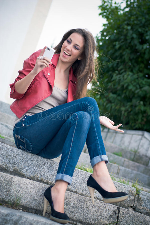 Free Young Fashion Girl With Cellphone Stock Photo - 21568890