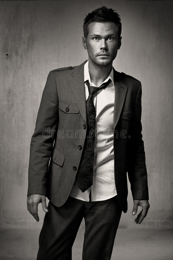 Young fashion handsome man model stock photo