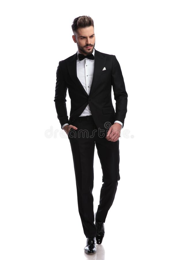 Young fashion man in tuxedo walks and looks down stock image