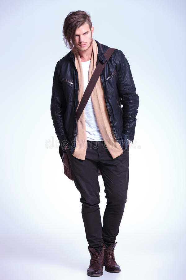 Free Young Fashion Model In Leather Jacket And Bag On Shoulder Stock Images - 34923514