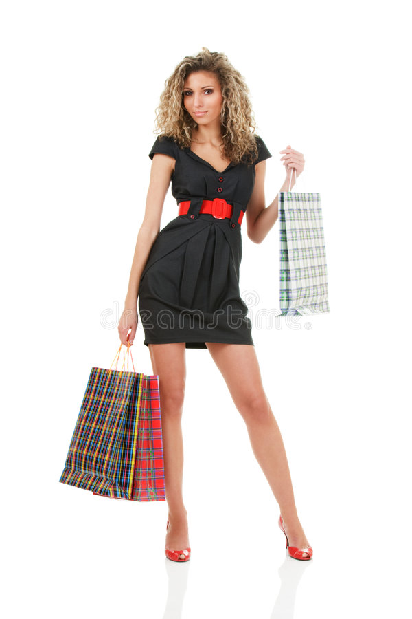 young fashion model at shopping stock photo image of. Black Bedroom Furniture Sets. Home Design Ideas