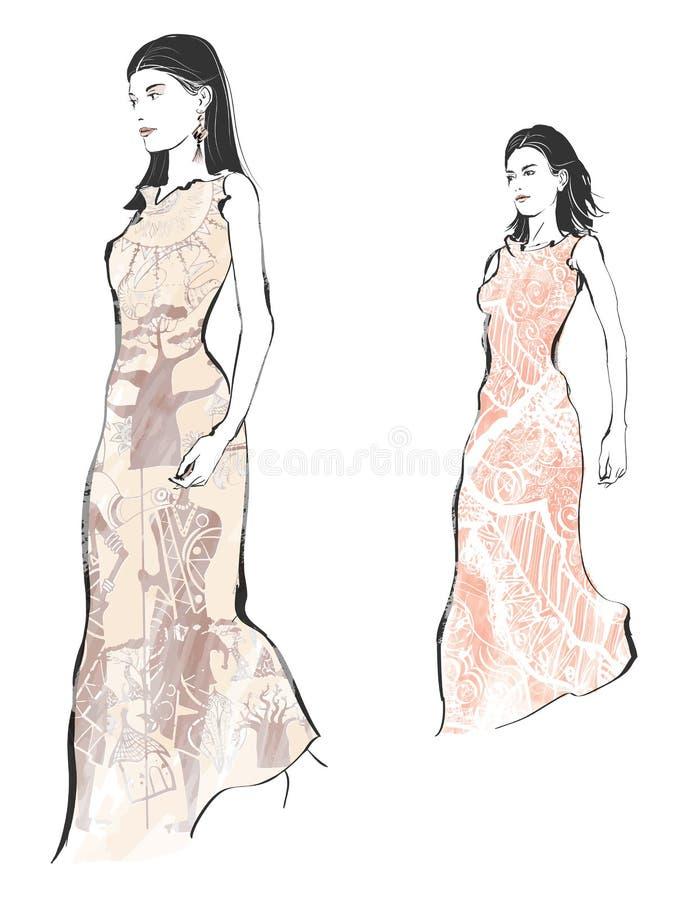 Young fashion models stock illustration