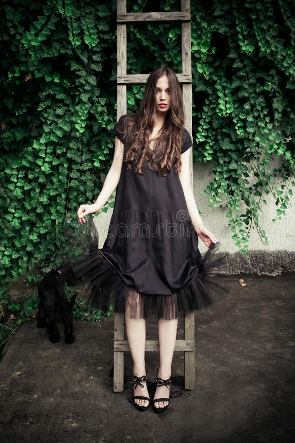 Young fashion woman in black elegant dress lean on wooden ladder royalty free stock image
