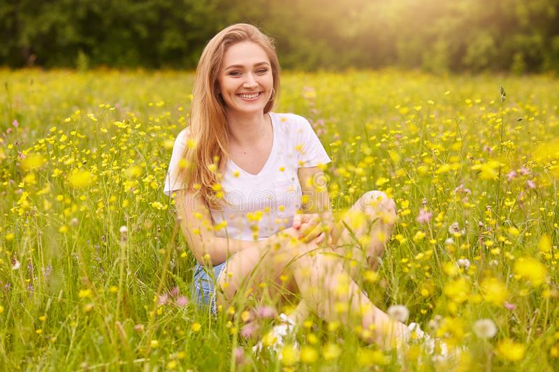 Young fashion woman posing in summer meadow. Trendy girl at nature landscape background. Happy smiling female sitting among yellow stock photo