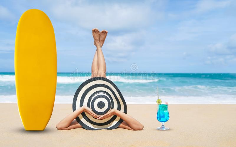 Young fashion woman relax on the beach, Happy island lifestyle, White sand, ฺBlue cloudy sky and crystal sea of tropical beach, royalty free stock photography