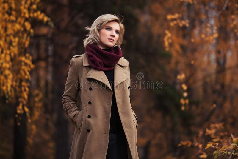 Young fashion woman walking in autumn park stock photography