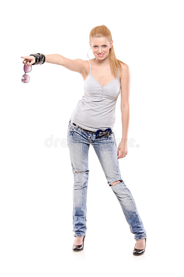 Download Young Fashionable Female Pointing Stock Photo - Image: 13280434