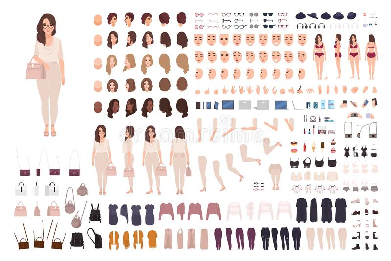 Young fashionable woman creation kit or DIY set. Bundle of body parts, gestures, clothes. Trendy street style outfit stock illustration