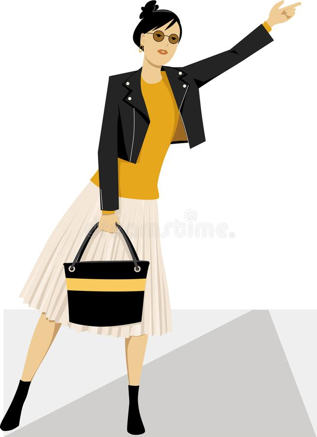 Hailing a cab on the street. Young fashionably dressed modern woman hailing a taxi cab, EPS 8 vector illustration vector illustration