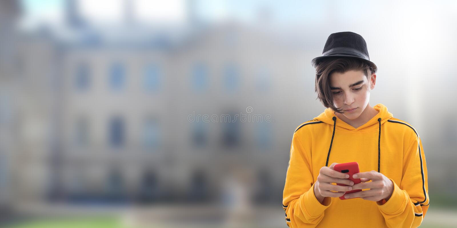 Young fashioned mobile phone royalty free stock photos