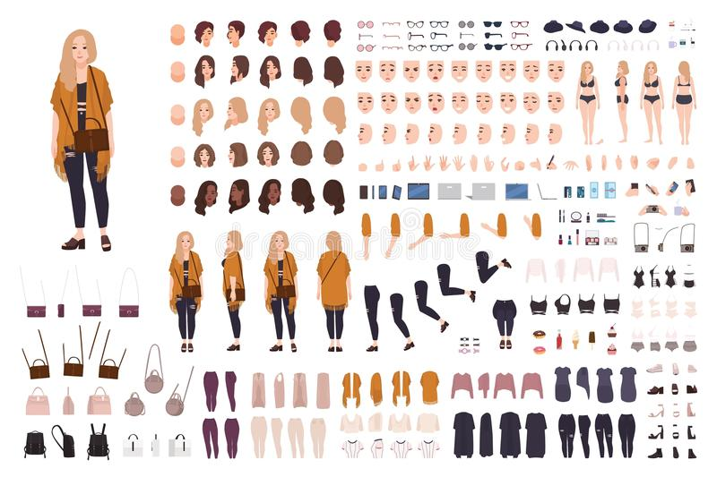 Young fat curvy woman or plus size girl constructor or DIY kit. Set of body parts, facial expressions, clothing vector illustration