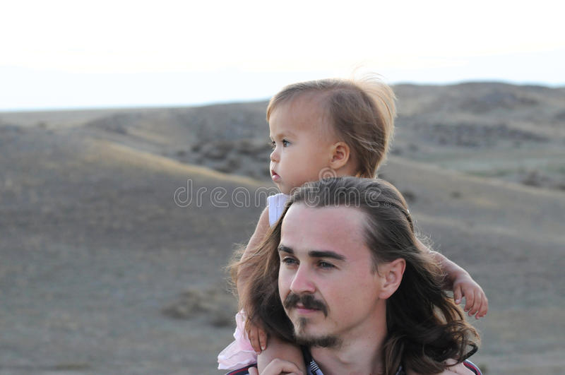 Young father and daughter stock image