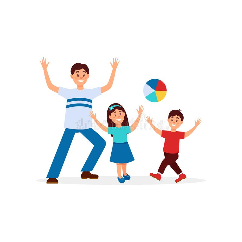 Young father playing in ball with his children. Dad, daughter and son. Family recreation. Outdoor activity. Fatherhood vector illustration