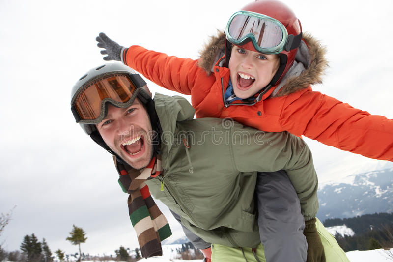 Young Father And Son On Winter Vacation Royalty Free Stock Photography
