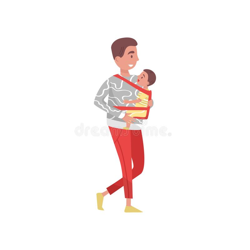 Young father walking outdoor with son in baby carrier. Smiling dad and his little kid. Family day. Fatherhood theme stock illustration