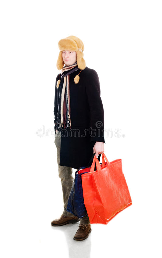 Download Young fellow with big bags stock image. Image of fellow - 13061759