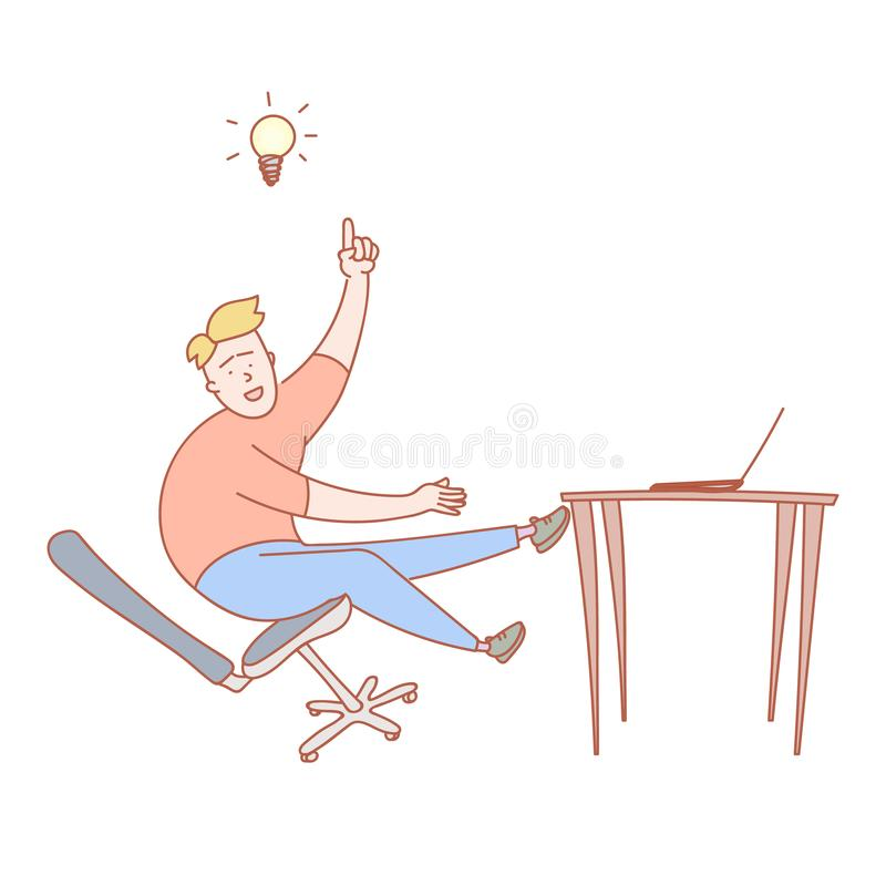 Young fellow just got the new idea. Vector illustration vector illustration