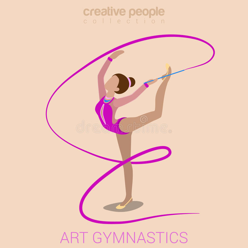 Young female art gymnastics performance. Sports women art gymnastics workout exercise performance flat 3d web isometric infographic vector. Young girl on carpet vector illustration
