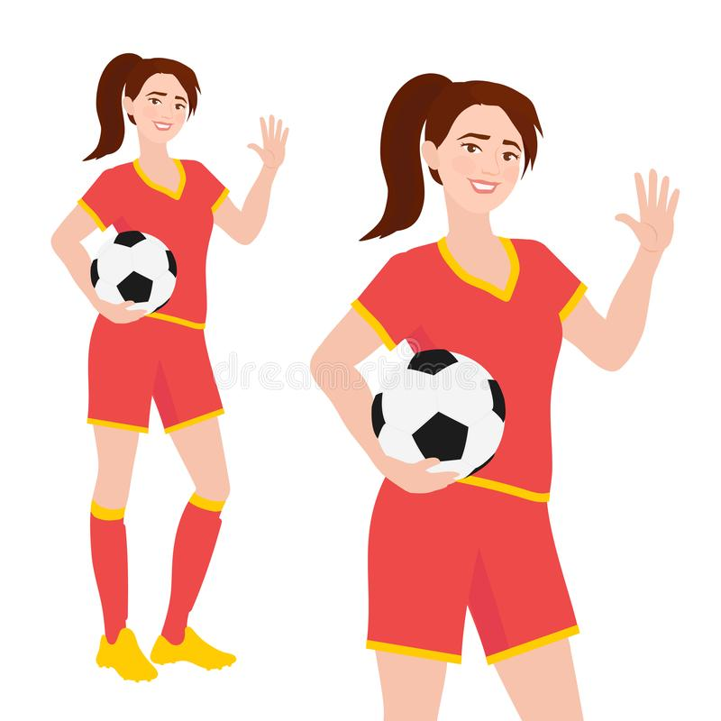Young female associaton football player in sportswear standing and holding soccer ball. Friendly teenage girl royalty free illustration