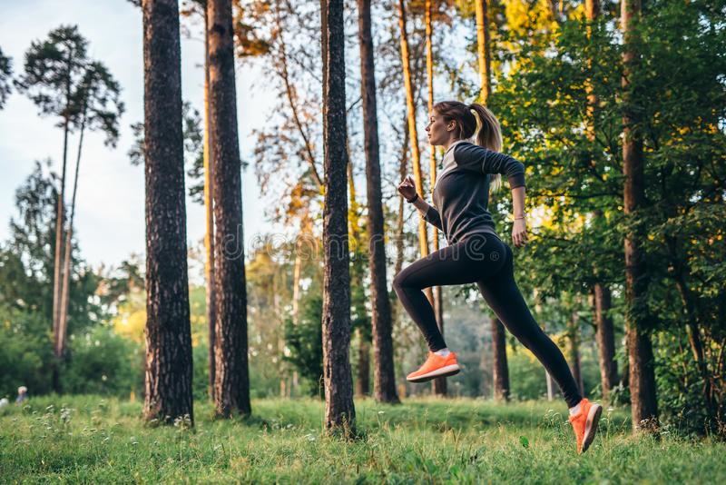 Young female athlete jogging in forest. Jogger doing morning physical training. royalty free stock photography