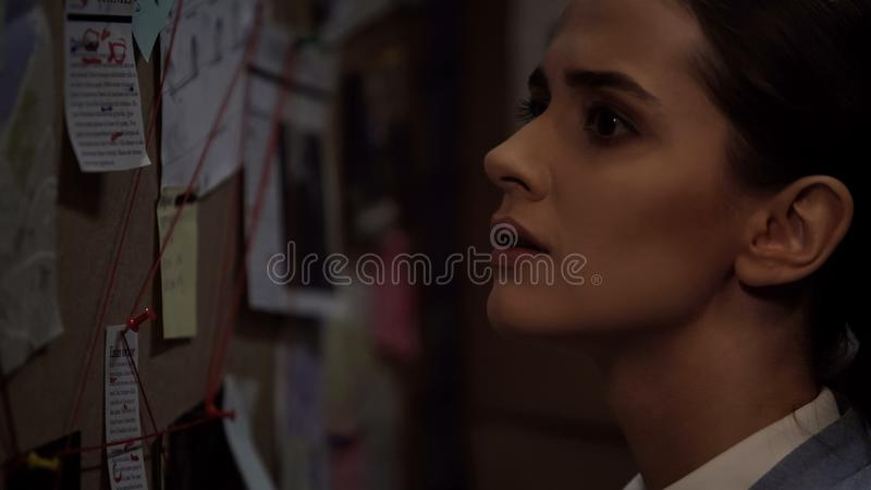 Young female attorney looking around the investigation board, inspection closeup royalty free stock photo