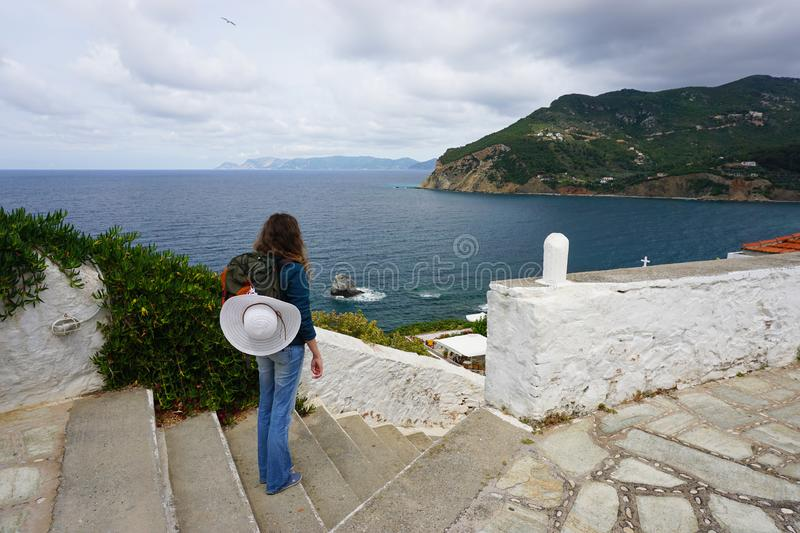 Young Woman Backpacker in Skopelos Greece stock photo
