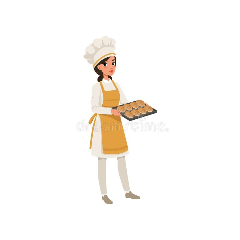 Young female baker character in uniform holding a tray with freshly baked bread vector Illustration on a white vector illustration