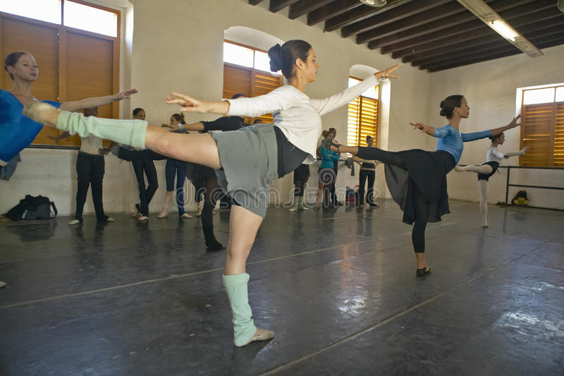 Young female ballerinas at Pro Danza Ballet dance studio and school, Cuba stock photo