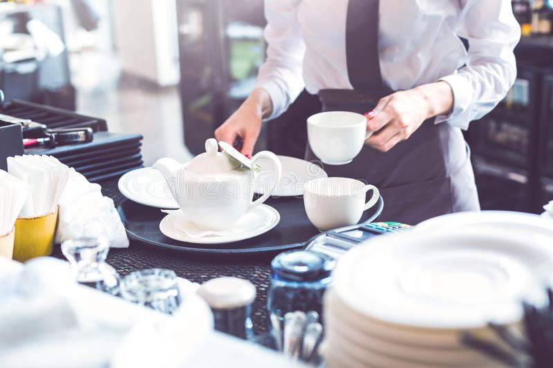 Young female barista serving tea to customers in cafe royalty free stock photography