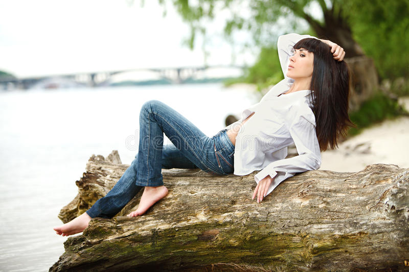Download Young female on a beam stock photo. Image of rest, relax - 32067044