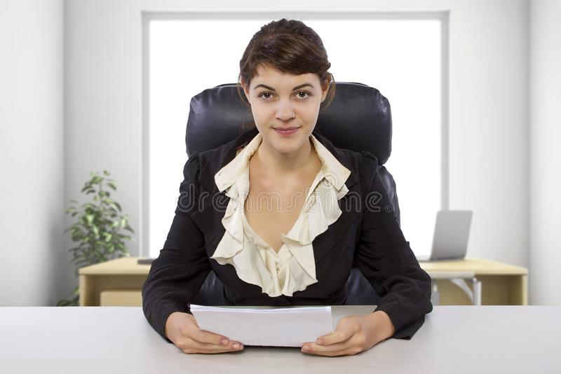 Female Writer Intern in an Office stock images