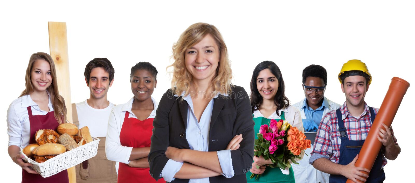 Young female business trainee with group of other international apprentices stock images