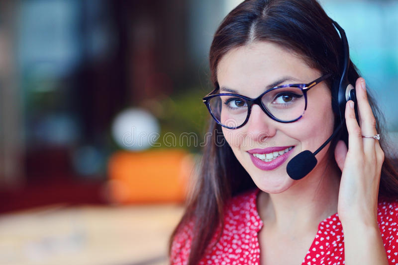 Young female in call center team. Beautifull Young female in call center team royalty free stock photo