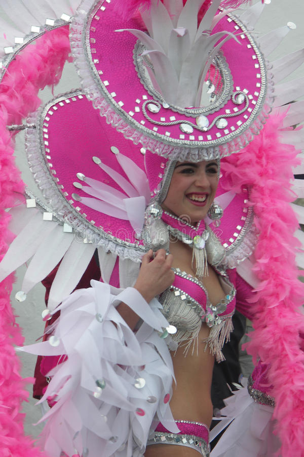 Young Female Carnival Dancer in Pink royalty free stock photos