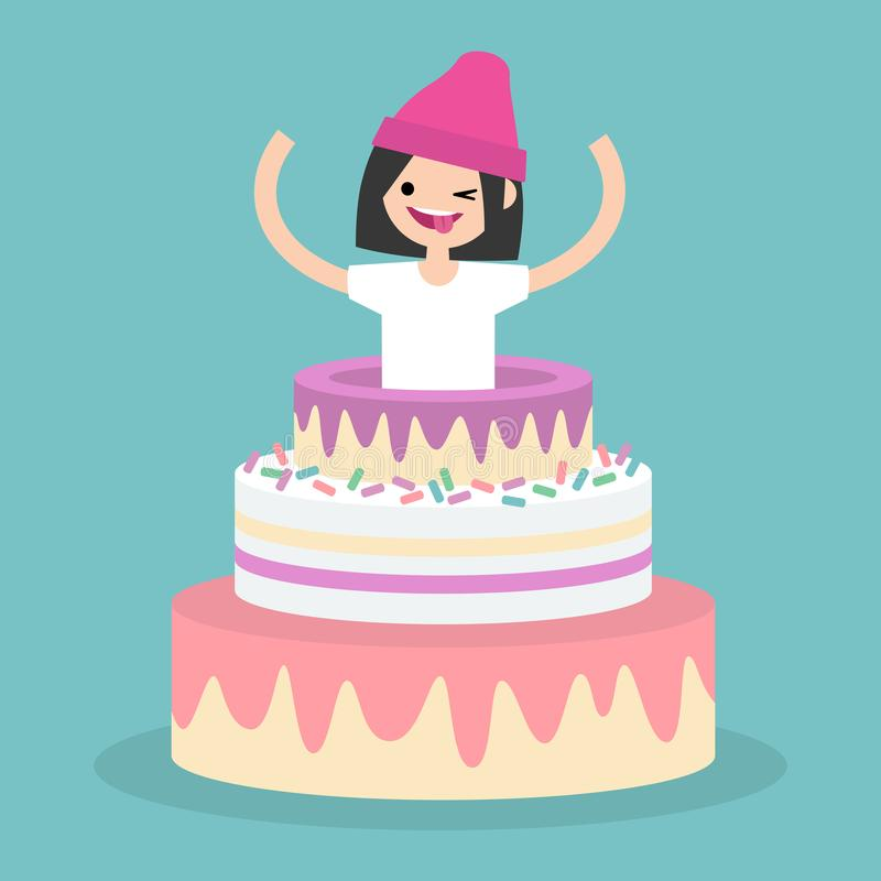 Young female character jumping out of a cake / flat editable vector illustration, clip art royalty free illustration
