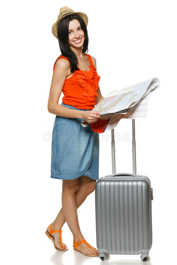 Young Female Choosing Travel Destination Stock Images