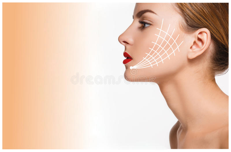 Young female with clean fresh skin stock images
