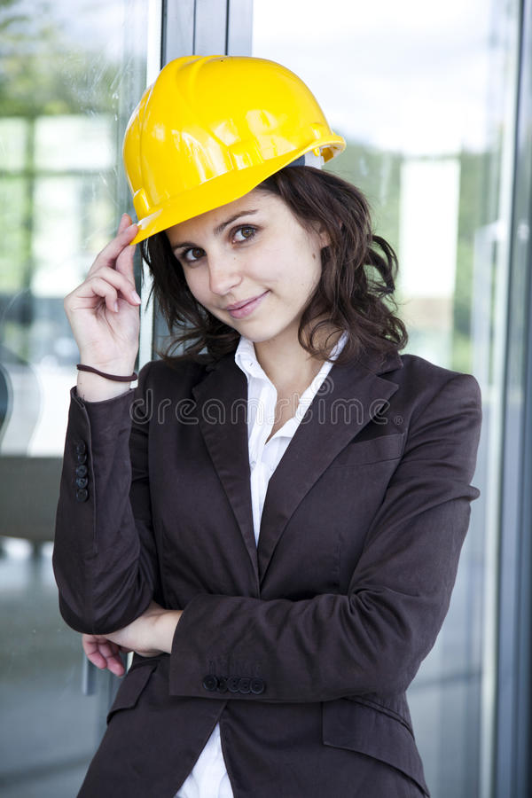 Young female construction engineer closeup