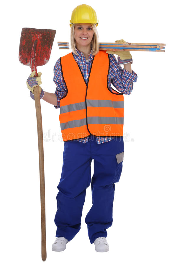 Young female construction worker woman job full body isolated. On a white background stock photo