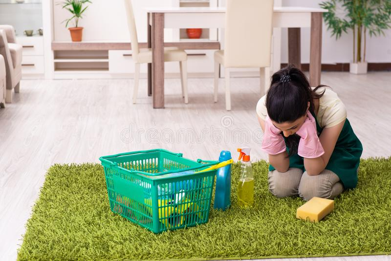 Young female contractor doing housework. The young female contractor doing housework stock images