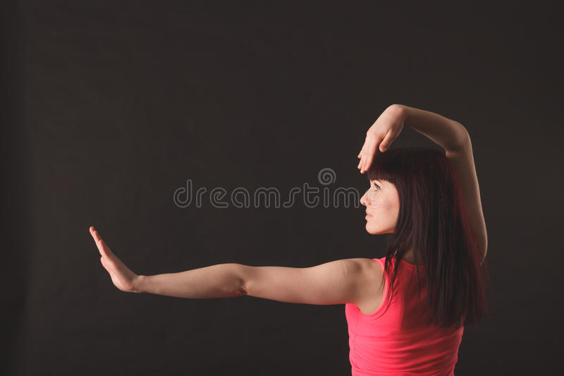 Young female dancing jazz stock image