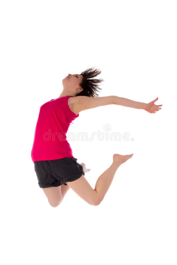 Young female dancing jumping stock images