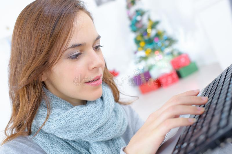 Young female designer working in office royalty free stock photo