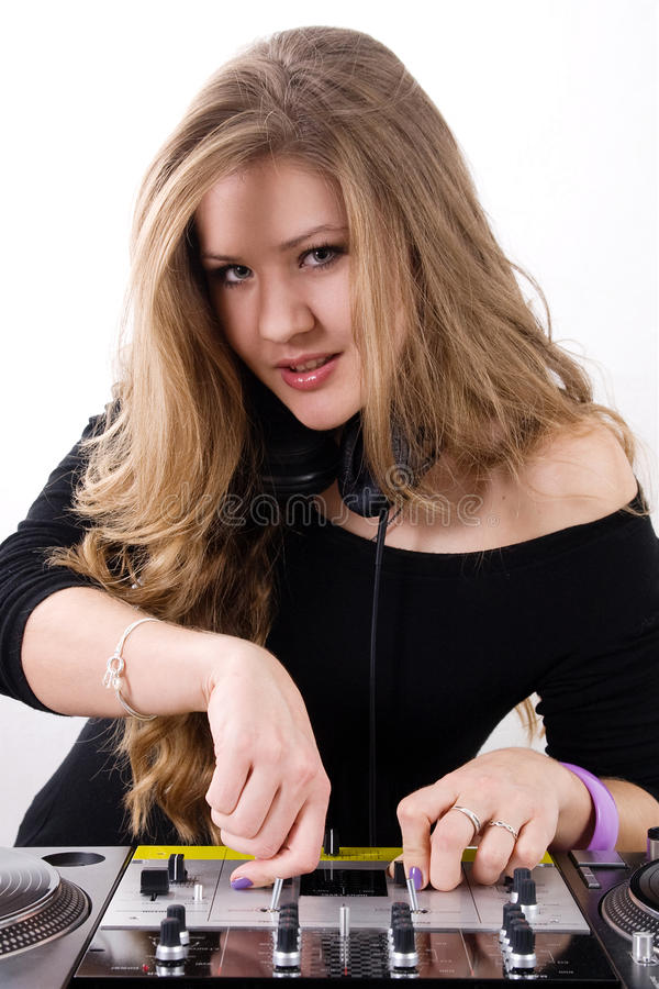 Young female dj playing royalty free stock photo
