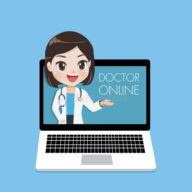 Young female doctor advise patients through online laptop vector illustration