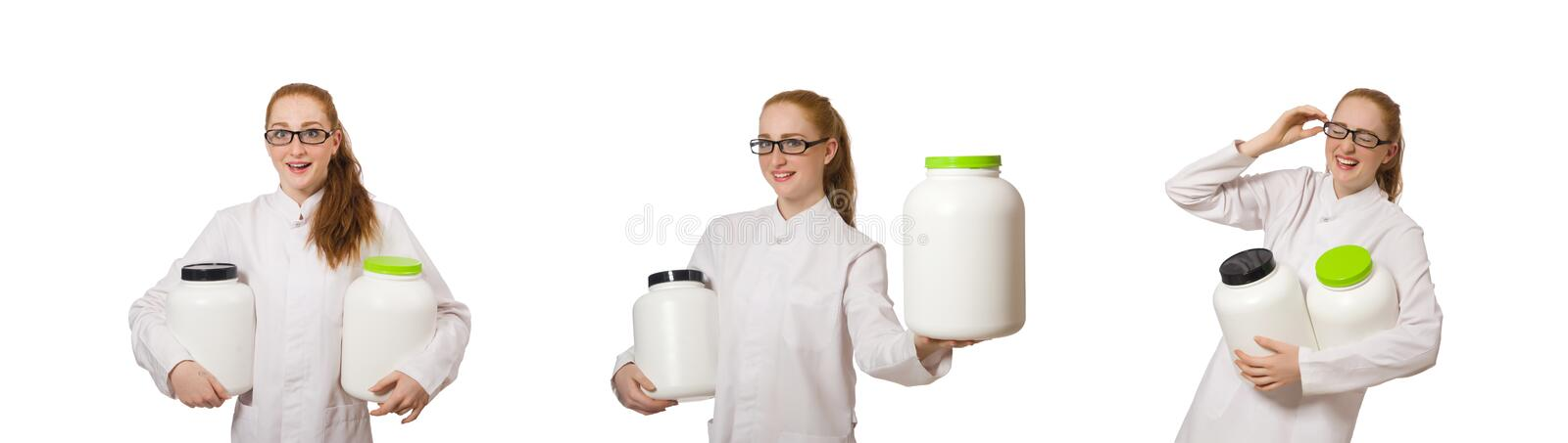 Young female doctor holding jar of protein isolated on white stock image