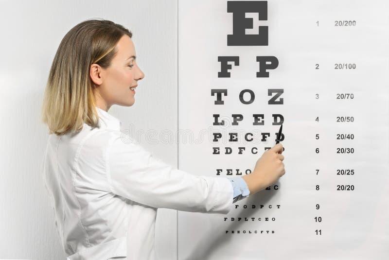 Young female doctor near eyesight test chart royalty free stock photos